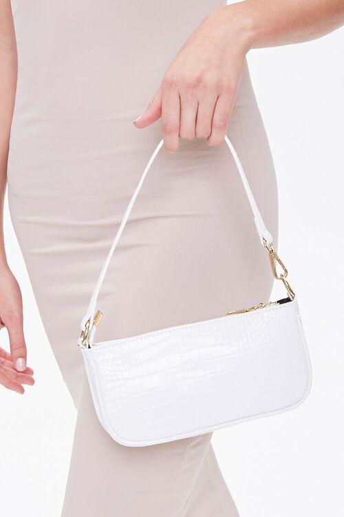 WHITE Faux Patent Croc Leather Shoulder Bag, image 2