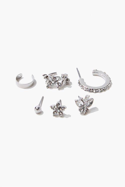 SILVER Rhinestone Ear Cuff & Stud Earring Set, image 1