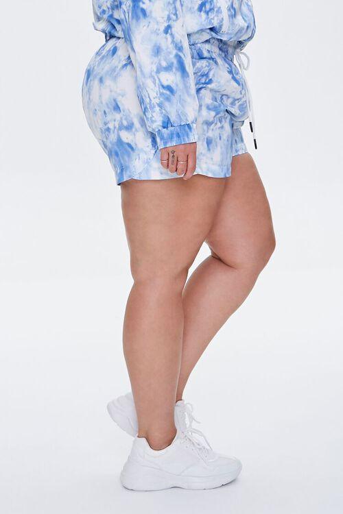BLUE/WHITE Plus Size Tie-Dye Drawstring Shorts, image 3