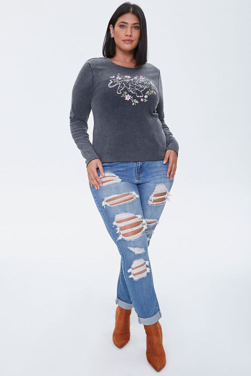 Plus Size Floral Tiger Graphic Top, image 4