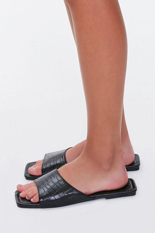 Faux Croc Leather Square-Toe Sandals, image 2