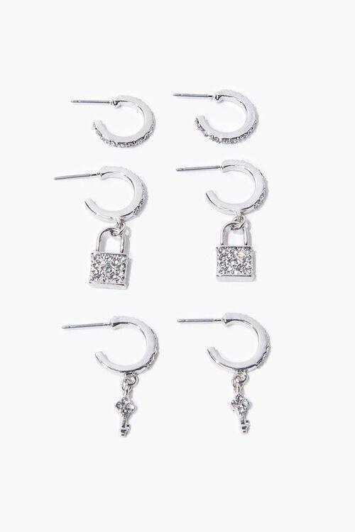 Lock Charm Hoop Earring Set, image 1