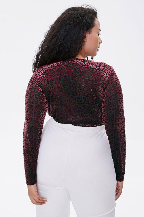 Plus Size Velvet Leopard Print Bodysuit, image 3