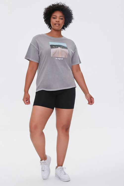 TAUPE/MULTI Plus Size No Signal Graphic Tee, image 4