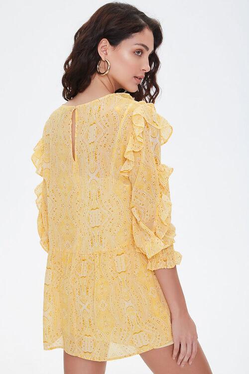 Paisley Ruffled Mini Dress, image 3