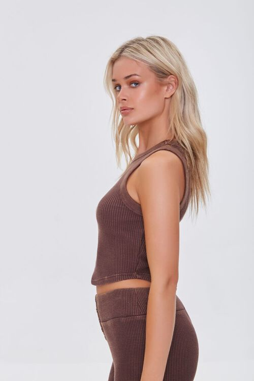 BROWN Waffle Knit Cropped Tank Top, image 2