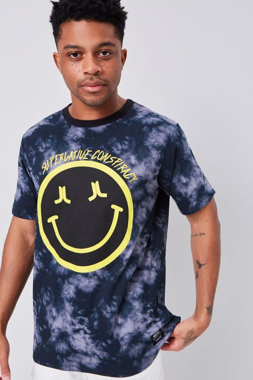 BLACK/YELLOW Smiling Face Graphic Tee, image 2