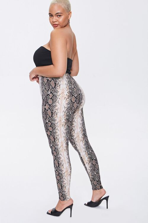 Plus Size Snake Print Leggings, image 1