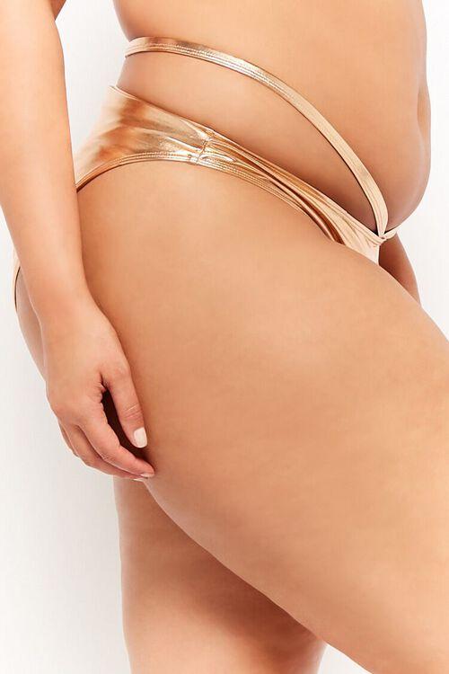 Plus Size Metallic Strappy String Bikini Bottoms, image 3