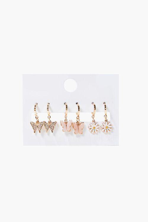 Butterfly & Daisy Charm Hoop Earring Set, image 1