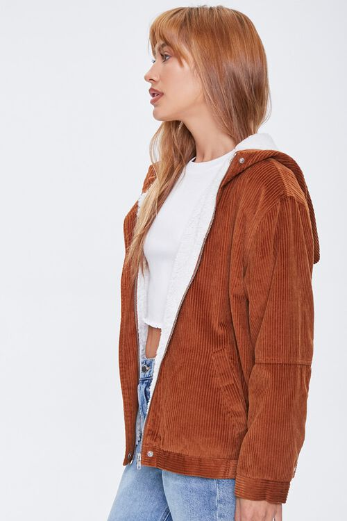 Corduroy Faux Shearling Hooded Jacket, image 2