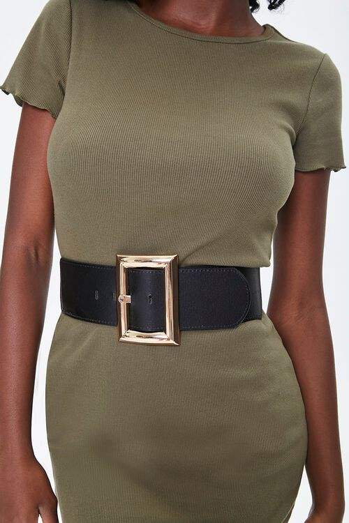 Faux Leather Wide Waist Belt, image 1