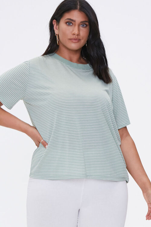 Plus Size Pinstriped Tee, image 1