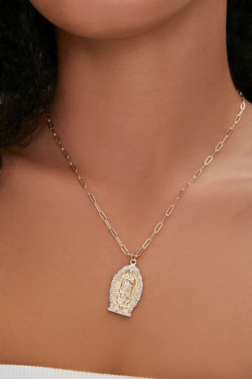 GOLD Our Lady of Guadalupe Pendant Necklace, image 1