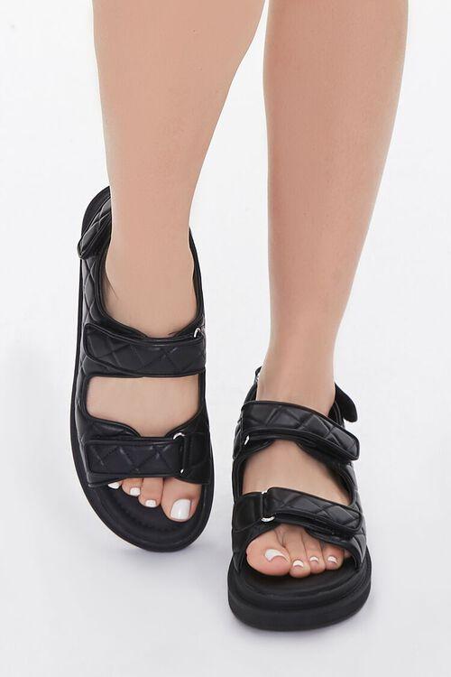 Buckled Quilted Platform Sandals, image 4