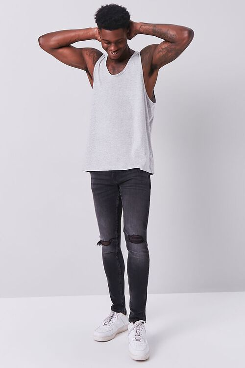 CHARCOAL HEATHER Organically Grown Cotton Basic Tank Top, image 4