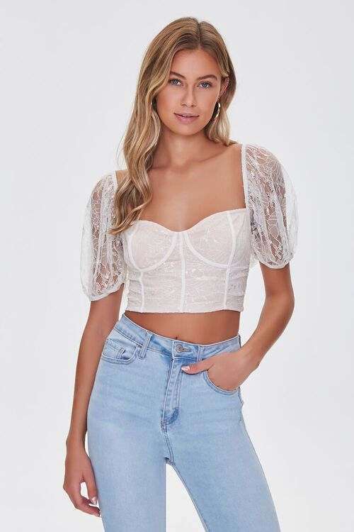 Lace Sweetheart Crop Top, image 1