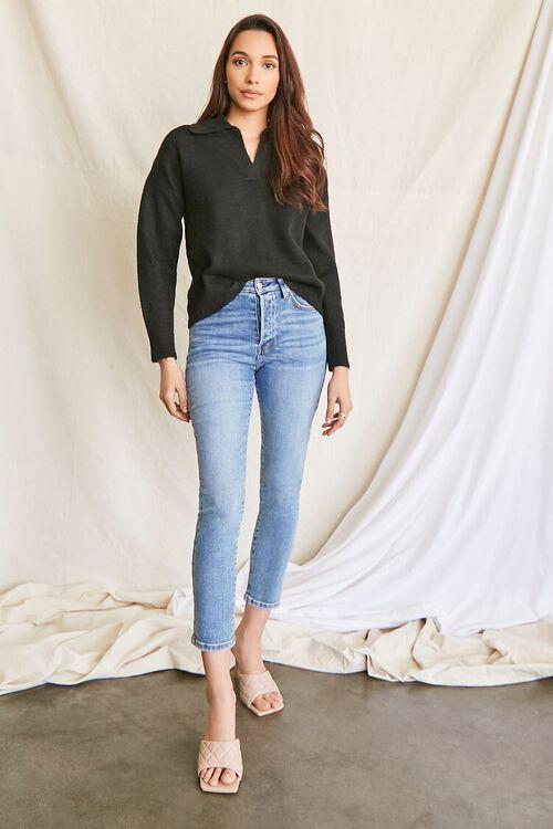 BLACK Brushed Split-Neck Sweater, image 4