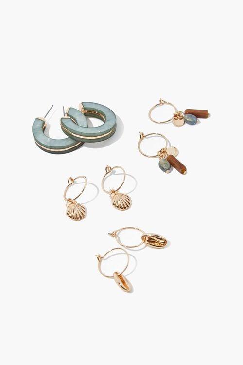 GOLD Seashell Hoop Earring Set, image 1