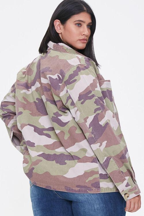 Plus Size Camo Print Twill Jacket, image 3