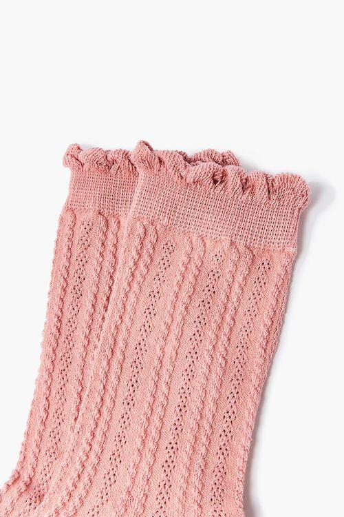 PINK Scalloped Crew Socks, image 3