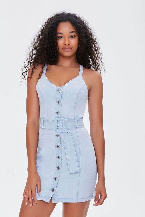 Belted Denim Mini Dress, image 4