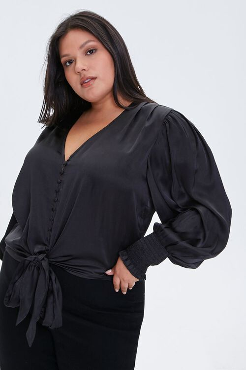 BLACK Plus Size Satin Tie-Front Top, image 1