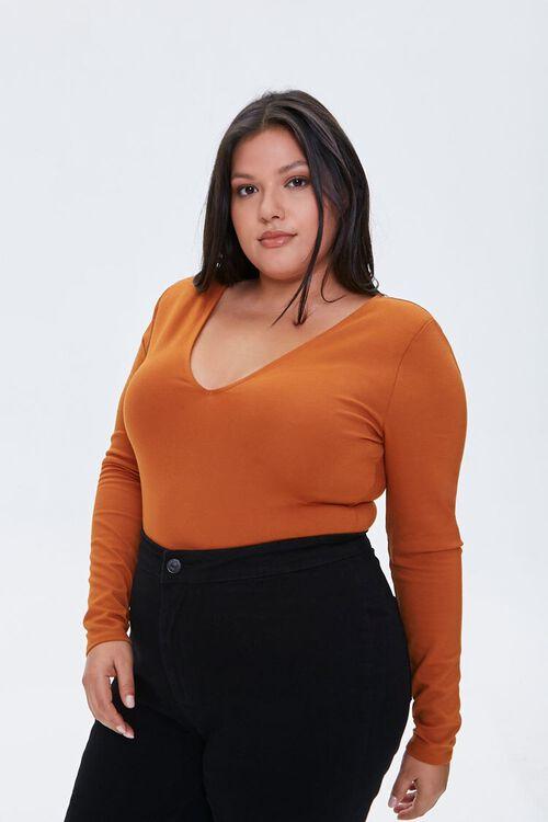 Plus Size V-Neck Long-Sleeve Bodysuit, image 2