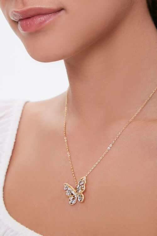 Rhinestone Butterfly Pendant Necklace, image 1