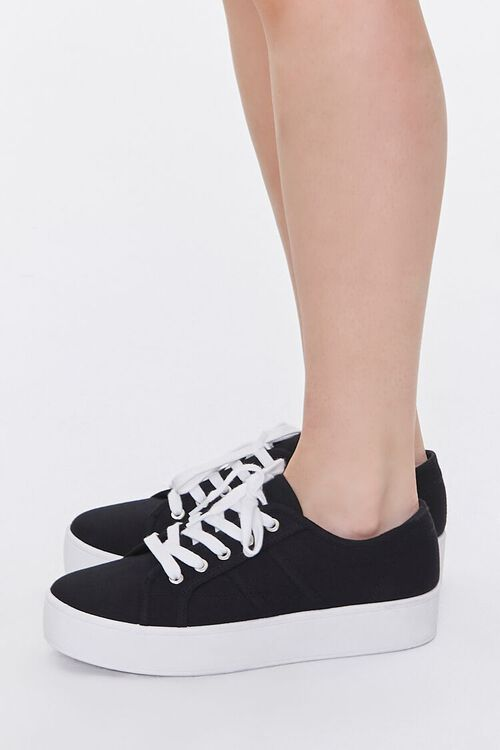 BLACK Lace-Up Low-Top Sneakers, image 2