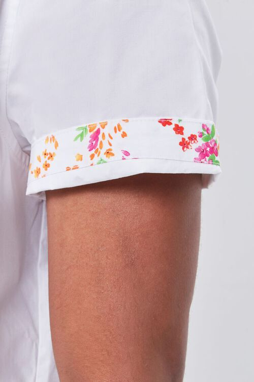 WHITE/MULTI Floral-Trim Fitted Shirt, image 5