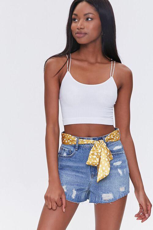 Spotted Belt Denim Shorts, image 1