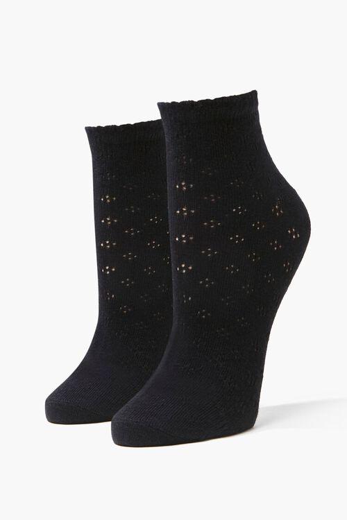 Pointelle Knit Crew Socks, image 1