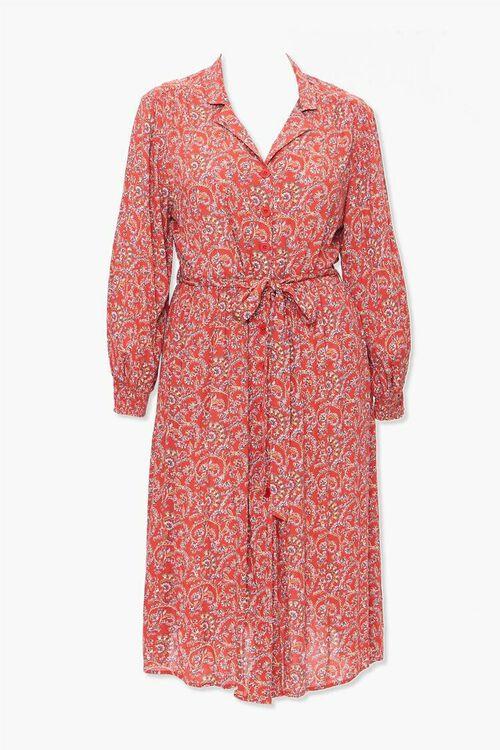 Plus Size Paisley Print Shirt Dress, image 5