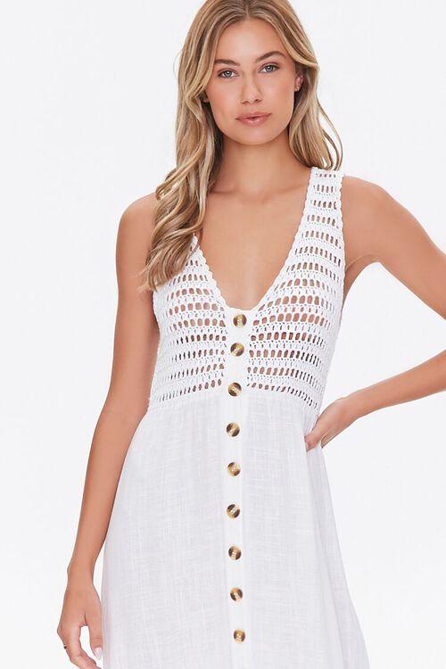 WHITE Gauze & Open-Knit Combo Dress, image 4