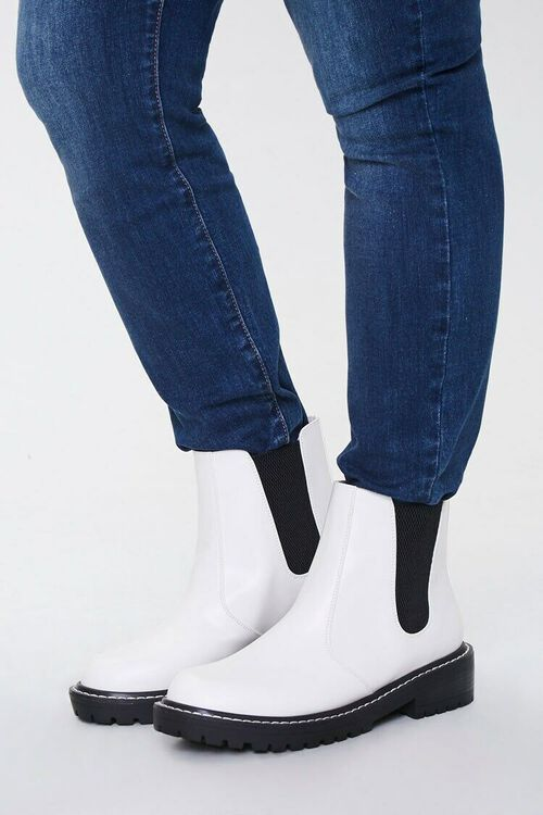 WHITE Faux Leather Chelsea Booties (Wide), image 1