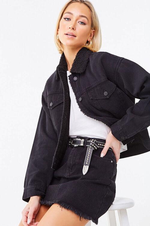 BLACK/BLACK Faux Shearling-Lined Denim Jacket, image 1