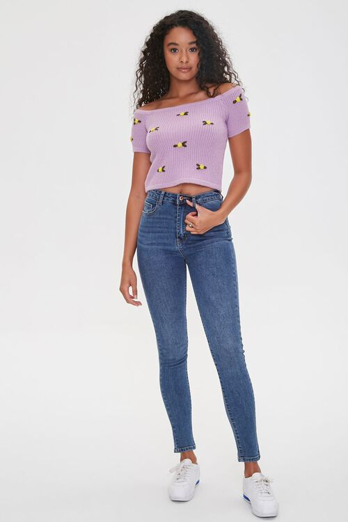 Floral Sweater-Knit Crop Top, image 4