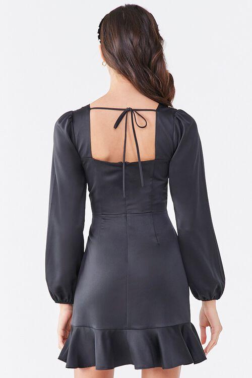 BLACK Flounce Satin Mini Dress, image 3