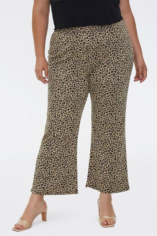 Plus Size Leopard Flare Pants, image 2