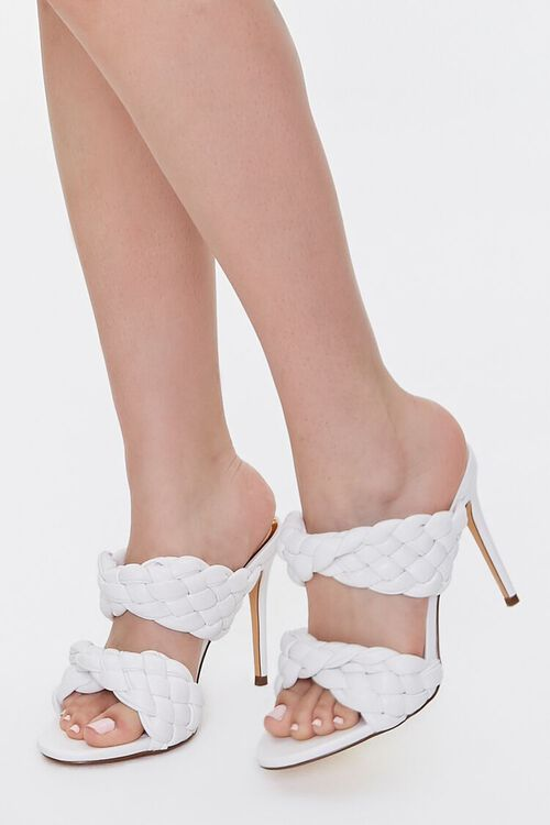 WHITE Braided Twisted High Heels, image 1