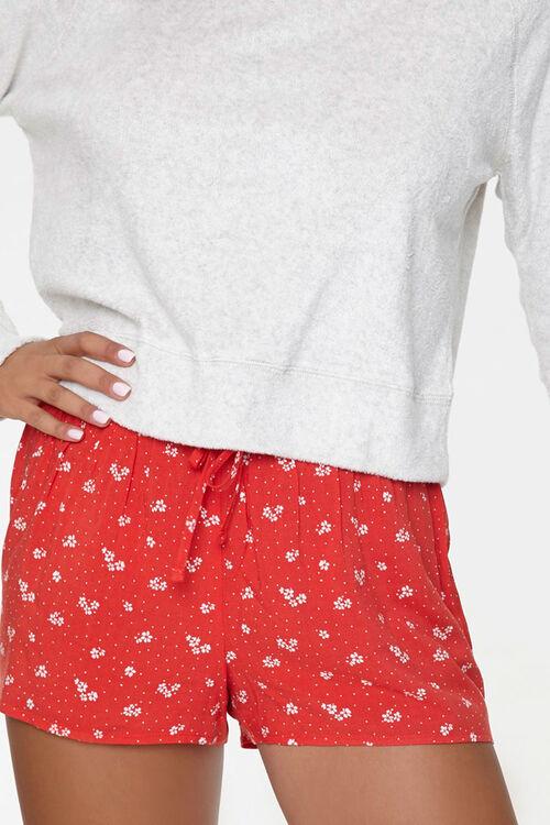 RED/WHITE Polka Dot Drawstring Lounge Shorts, image 2
