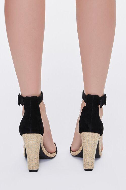 BLACK Faux Suede Basketwoven Block Heels, image 3