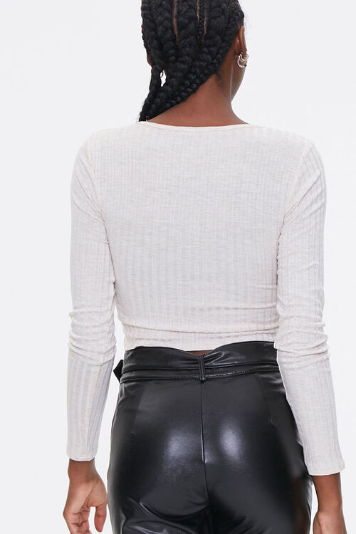 Ruched Rib-Knit Crop Top, image 3