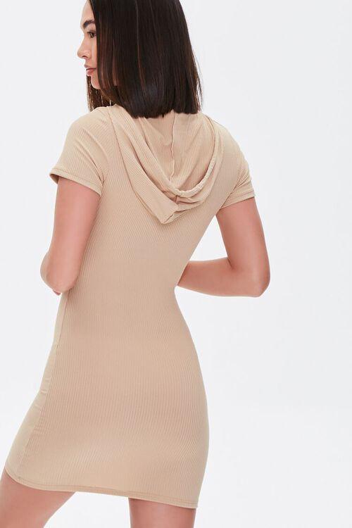 KHAKI Hooded Bodycon Mini Dress, image 3