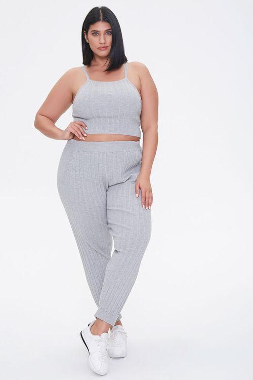 Plus Size Cropped Cami & Ankle Pants Set, image 1