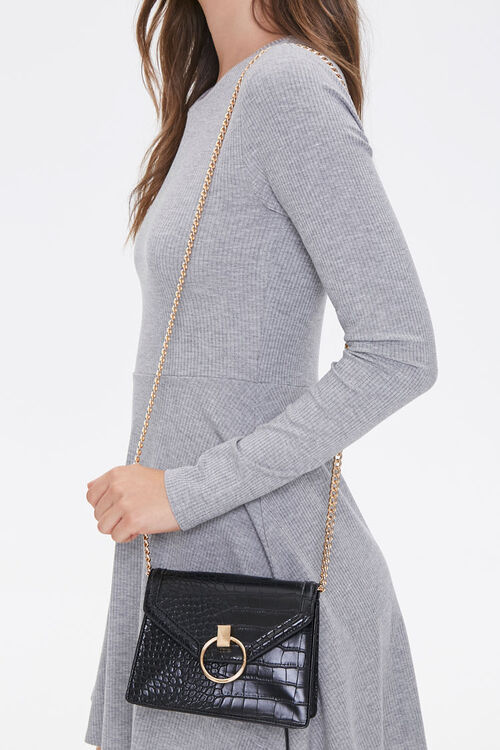Faux Croc Leather Crossbody Bag, image 1
