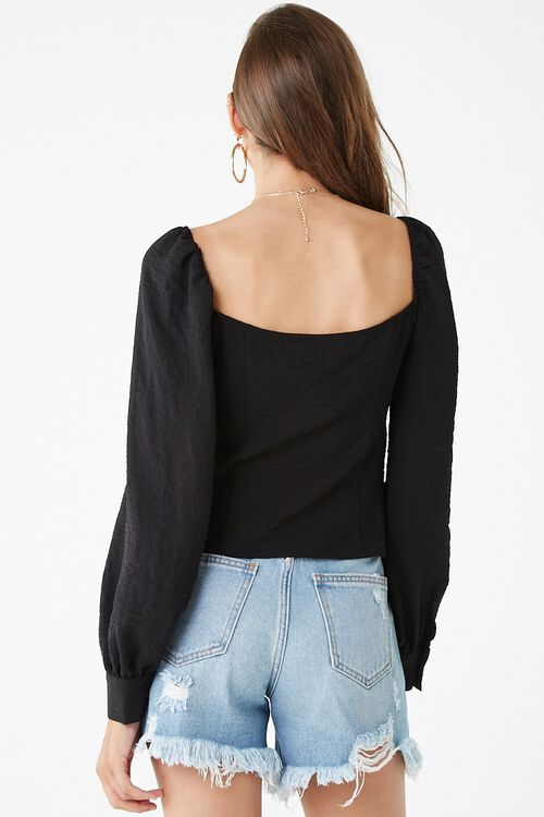 Long Sleeve Self-Tie Cutout Top, image 3