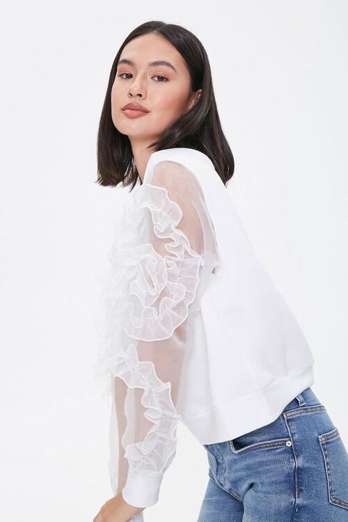 WHITE Ruffled-Sleeve Sweater, image 1
