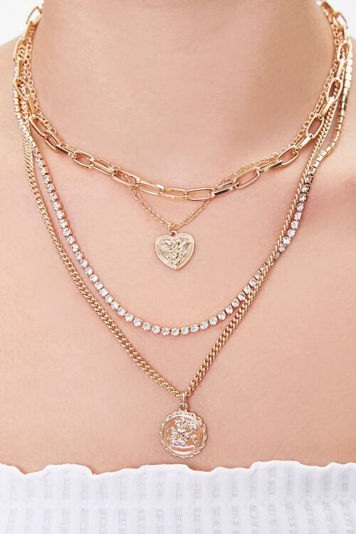 GOLD Layered Rhinestone Coin Necklace, image 1